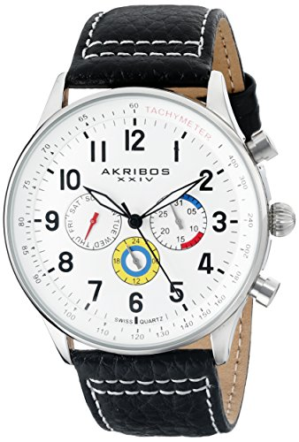 Time Mens White Dial (Akribos XXIV Men's AK751SSW Swiss Quartz Movement Watch with Silver Matte Dial and Multicolored Sub dials with Black and White Stitching Leather Calfskin Strap)
