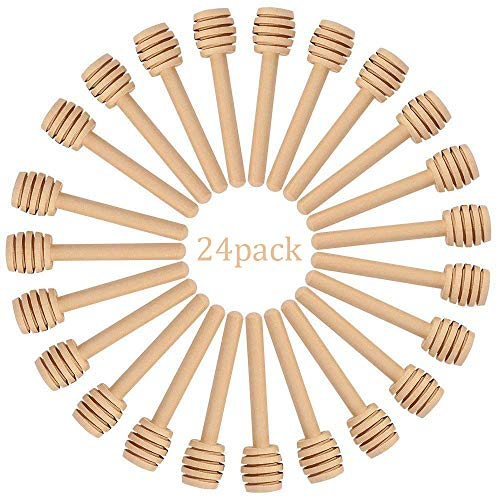 (HSAN 24 Pack Honey Dippers,3 inch Wood Honey Dipper Mini Honey Dipper Stick Spoon Wood Honey Spoon Dipper for Honey Jar)