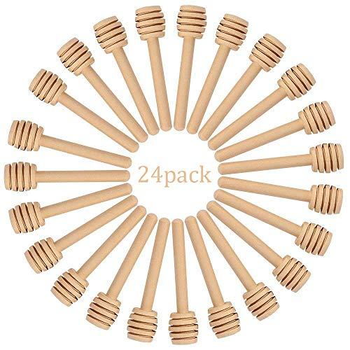 Honey Spoon Dipper - HSAN 24 Pack Honey Dippers,3 inch Wood Honey Dipper Mini Honey Dipper Stick Spoon Wood Honey Spoon Dipper for Honey Jar