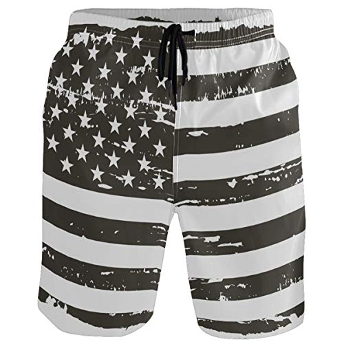 visesunny Men's Vintage American Flag Print Beach Shorts Swim Trunks Sports Running Bathing Suits with Mesh Lining