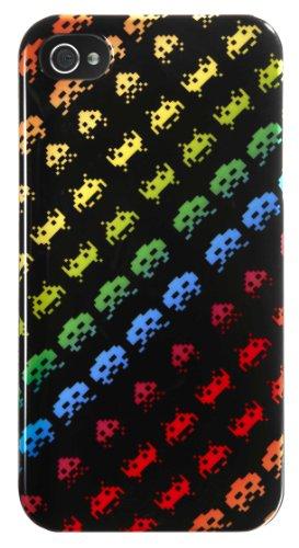 Coque Iphone 4/4s Space Invaders Noire Multi Aliens Rainbow
