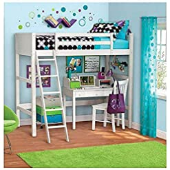 Bedroom Ladder Twin Bunk Wooden Loft Bed Over Desk Kids Teen Bedroom White Wood Furniture (legendary-yes) bunk beds