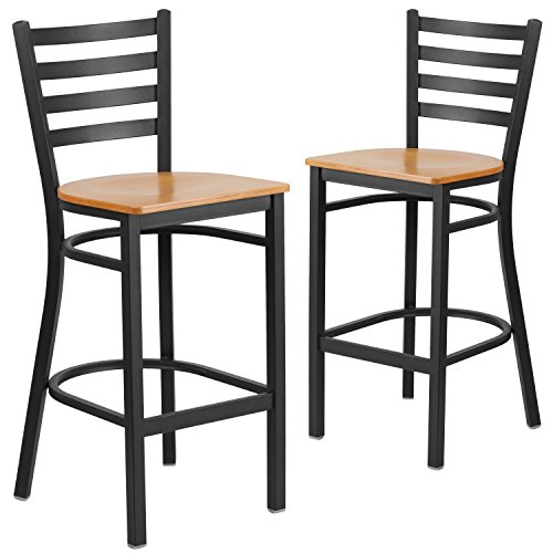 Natural Wood Series Natural - Flash Furniture 2 Pk. HERCULES Series Black Ladder Back Metal Restaurant Barstool - Natural Wood Seat