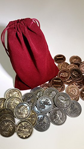 Top Shelf Gamer Gaming Metal Coins: Roman Set with Burgundy Bag (set of 50) by Top Shelf Gamer