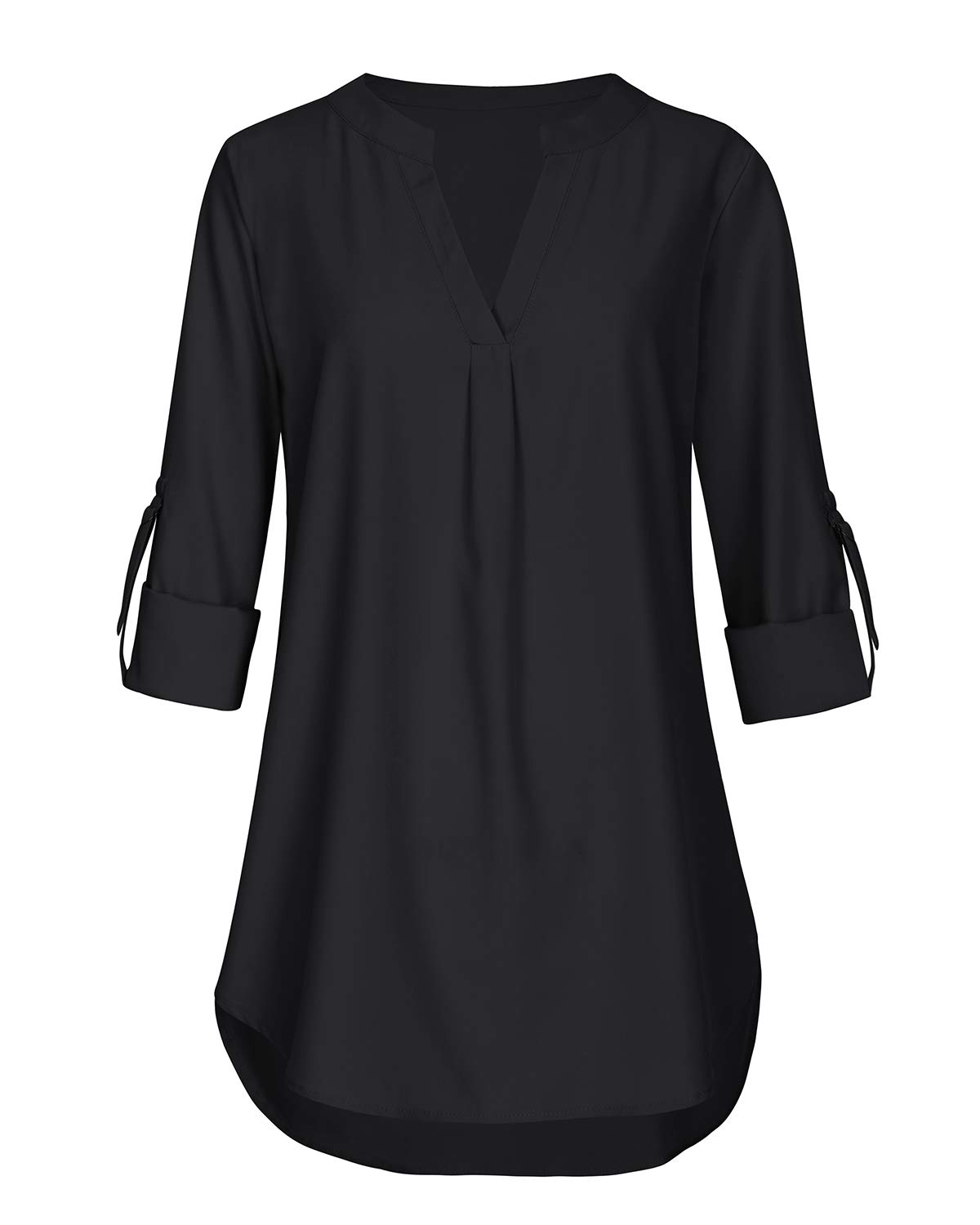 Business Casual Tops for Women V Neck Short Sleeve Tunics Knit Comfy Flattering Blouse T Shirt (Black, Large)