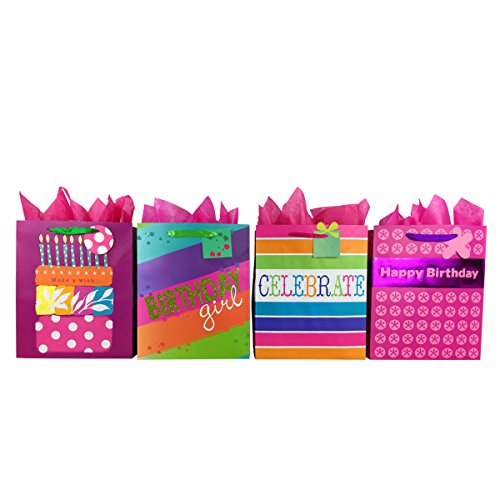 Premium Birthday Gift Bags + Tissue Paper (4 Large Bags + Tissue, Birthday Girl) -