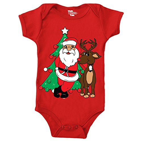Santa with Reindeer - Christmas Bodysuit (18 Months, RED) - Tuxido Suit