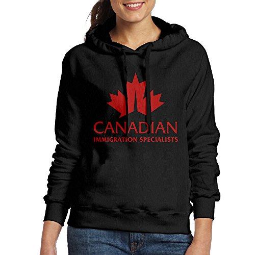 [Immigration Canada Women's Fleece Hoodie L Black] (Nerf Boy Costume)