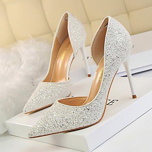 Yukun tacón Mujeres Marea Zapatos Zapatos alto con Solos White Única En Color Pequeños De Plata De De con Tacón De Tacón Amarillo de zapatos Aguja Alto fgxrf