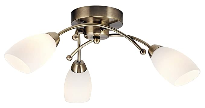 Haysom Interiors - Lámpara de techo (3 brazos, metal, latón ...