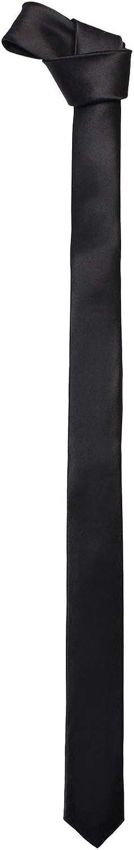 New Mens Solid Black Retro Skinny Necktie 1.5