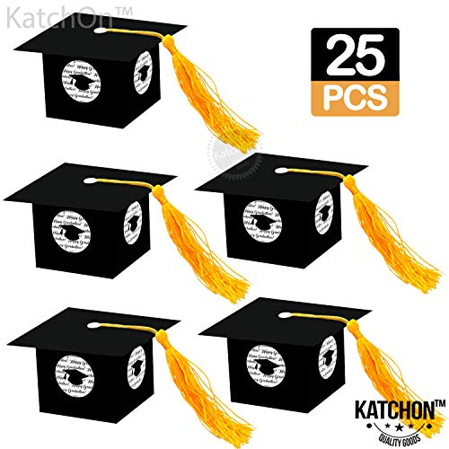 Graduation Party Decorations Gift Box - Grad Cap Shape Treat Boxes | Graduation Party Favor | Graduation Gift Box | Graduation Candy Box for Chocolate | Favors for Kids, Guests. Grad | Pack of 25 -