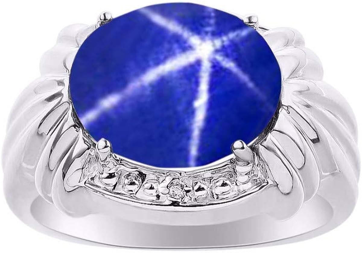 RYLOS Anillo clásico para mujer con piedras preciosas ovaladas y diamantes brillantes genuinos en oro blanco de 14 quilates – 12 x 10 mm, gran anillo para dedo medio o puntero