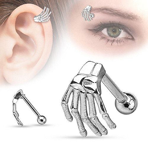 Steel Ear Claw - Yuren Punk Gothic Stainless Steel Skull Claw Ear Helix Stud Skeleton ghost hand earrings nose ring eyebrow nail (Silver)