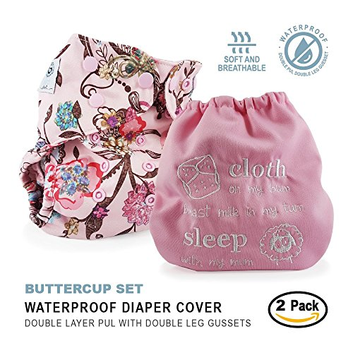 Baby Tooshy Cloth Diaper Covers with DOUBLE Gussets. Waterproof, Adjustable & Reusable. One Size for Prefolds/ Flats/ Inserts. Set has 1 Embroidered