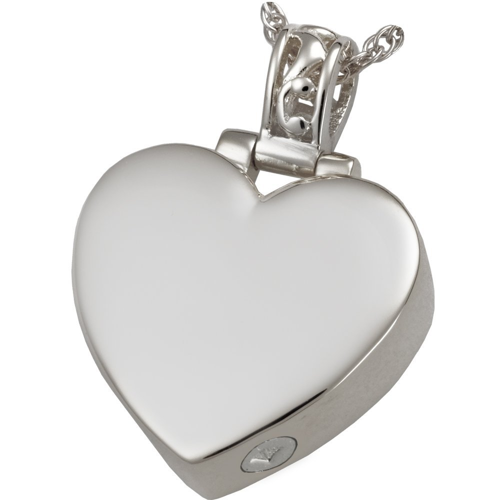 Memorial Gallery MG-3149ss Filigree Bail Heart Sterling Silver Cremation Pet Jewelry