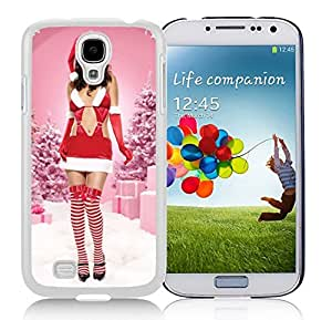 Galaxy S4 Case,Pink Christmas Lingerie Girl Christmas Series-TPU White S4 Protective Case,Samsung S4 I9500 Case