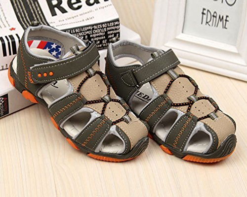 YiLianDa Active Casual Sandal Sandalias de Vestir de Cuero para Niño Verde(2)