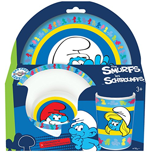 Smurfs 3-Piece Mealtime Set with Plate, Bowl and Tumbler - Melamine Dinnerware Set for Kids - Dishwasher Safe, Break Resistant and BPA (Smurf Ideas For Halloween)