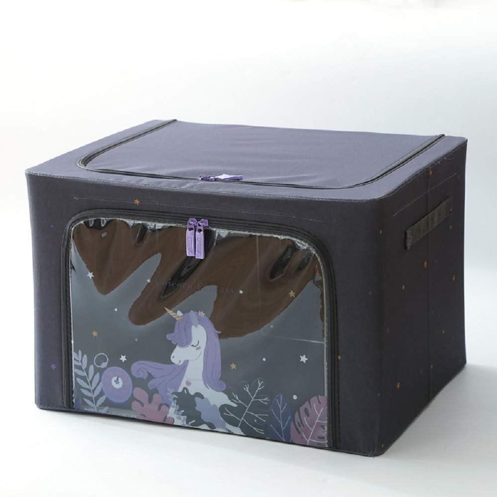 Caja de almacenamiento de tela de 66 litros for el hogar, caja de recepción plegable, con tapa Caja de Tidy de gran capacidad, cajas de recibos de ventanas visuales y cajas de reserva de cajas de artí
