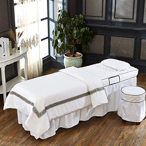 SL-DAM European Beauty Salon Physiotherapy Bed Cover,White Microfiber Massage Table Sheet Sets,Stain-Resistant Massage Four-Piece-White 60x175cm(24x69inch)
