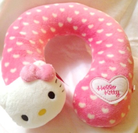 Hello Kitty Neck Pillow Car or Travel Face Plush and Hearts (Good for Adult or kid)