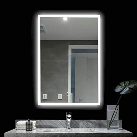 Amazon Com Peralng Led Bathroom Mirror Wall Mounted Light 28 X 20 Lighted Edge Backlit Vanity Light With 3 Colour Dimmable Touch Switch Horizontal Rectangle 18w 28x20 Inch Furniture Decor