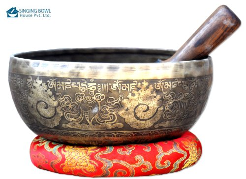 9Fine Etching Hand made singing bowl with cushions and Mallet,Real handmade singing bowl from Nepal,healing bowls