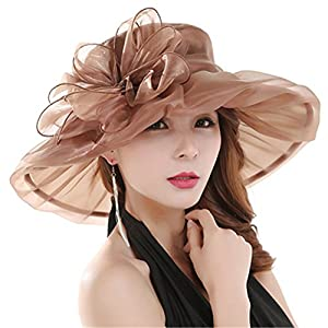 Powerfulline Women's Organza Summer Sun Hat Bridal Cap Beach Church Ascot Race Derby Hat Cocktail Party Wedding Cap