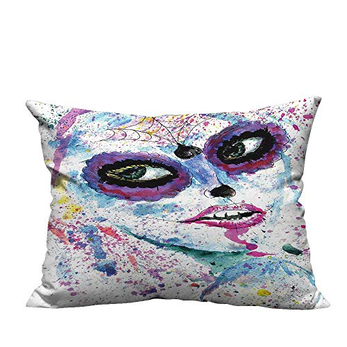 YouXianHome Print Bed Pillowcases Halloween Lady with Sugar Skull Make Up Creepy Dead Face Gothic Woman Washable and Hypoallergenic(Double-Sided Printing) 11x19.5 inch]()