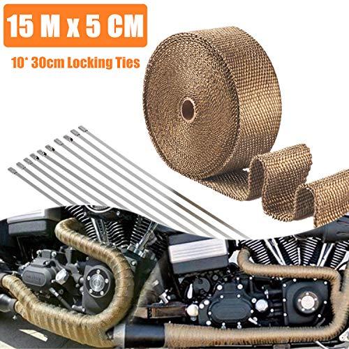 STARPIA 15M x 5 cm hittewerende tape basaltvezel, titanium kleur uitlaatband met 10 roestvrijstalen kabelbinders voor…