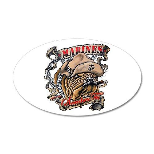 (35x21 Oval Wall Vinyl Sticker Marines Semper Fi Devil Dog Smoking)