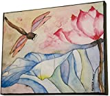 Dragonfly Lotus Flower Watercolor Painting Wall Art Print Mounted on Canvas Ready To Hang 8x10