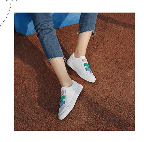 Fashion Stretch Student Flat Shoes Casual Breathable Skateboarding Shoes Women Loafers (Color : White, Size : 35)