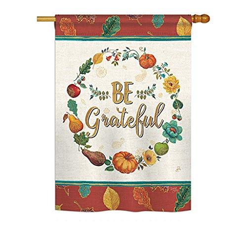 Breeze Decor H113071 Be Grateful Fall Thanksgiving Decorative Vertical House Flag, 28