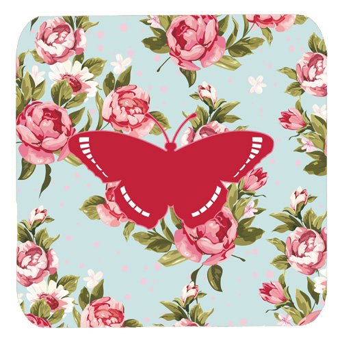 Caroline's Treasures BB1038-RS-BU-FC Butterfly Shabby Chic Blue Roses Foam Coasters (Set of 4), 3.5