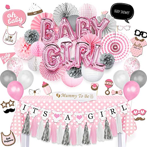 NICROLANDEE Baby Girl Baby Shower Decorations Princess Pink Baby Girl Balloon Paper Lanterns Tissue Poms Party Fans Rectangle Tablecloth Mommy to Be Sash Photo Booth Props for Baby Shower -