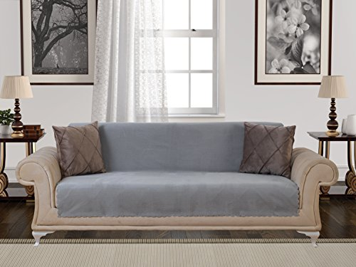 Chiara Rose Anti-Slip Armless 1-Piece Sofa Throw Slipcover for Dogs Pets Kids Non-Slip Furniture Cover Shield Protector Fitted 2 & 3 Cushion Couch Futon Sectional Recliner Seater Diamond Sofa Gray -