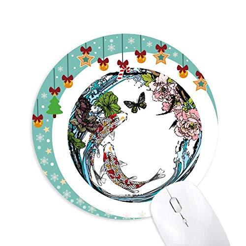 (Carp Peony Lotus Pattern Geometry Mouse Pad Jingling Bell Round Rubber Mat )