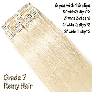 Clip in Human Hair Extensions Platinum Blonde 20 Inch Double Weft Thick 150g 8pcs 18 clips on 8A Grade Soft Straight 100% Remy Hair (Platinum Blonde #60,20'')
