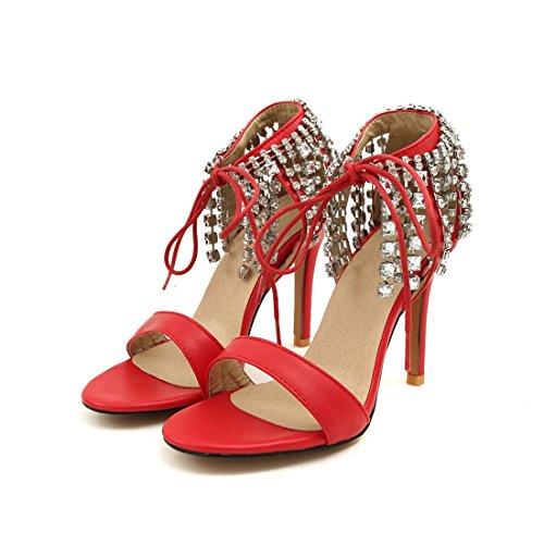 super i signore diamante 36 gules tacchi a diamante moda i sandali spillo sexy sandali sandali x1SSqdX