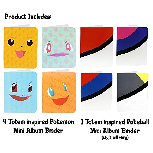Sleeves Included Featuring Favorite Pokemon Characters Protect Your Deck in Style Durable Perfect for Kids SG/_B07CMVDHD8/_US Totem World 4 Mini Album for Pokemon Cards with 1 Pokeball Inspired Mini Binder