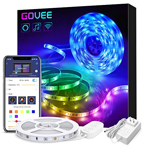 Govee Smart WiFi LED Strip Lights Works with Alexa, Google Home Brighter 5050 LED, 16 Million Colors Phone App Controlled Music Light Strip for Home, Kitchen, TV, Party, for iOS and Android, 16.4ft (Led Light Home Theater)