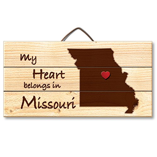 Etched Pin (Highland Woodcrafters Missouri Laser Etched Pallet Wood State Sign with Heart Shaped Push Pin, 6 x 12 inch)