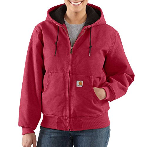Carhartt Women's Quilted Flannel Lined Sandstone Active Jacket WJ130,Crab Apple,Medium (Zip Rugged Sleeve)