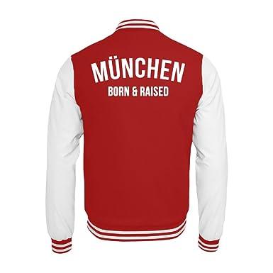 PlimPlom München Born & Raised College Jacke In RotWeiß