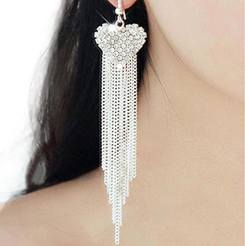 BSGSH Women Fashion Long Tassel Dangle Earrings Heart Shape Rhinestone Pendant Eardrop Jewelry Gifts (Silver) (Drop Necklace Wave)