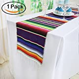 TRLYC 14 x 84 inches Mexican Table Runner for Mexican Party Decorations Wedding Supplies Cotton Mexican Serape Table Runner