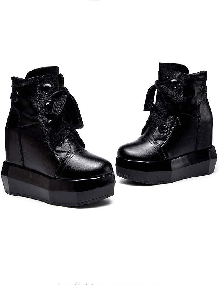 Lxlux Tacchi alti stivali Round-Toe delle donne con fondo ispessito Black