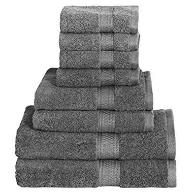 8 Piece Towel Set (Grey); 2 Bath Towels, 2 Hand Towels & 4 Washcloths Cotton Bath Towel Bath Sheet Hand Towel washcloth wash cloth By Utopia Towels